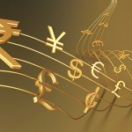 Currencies symbols on musical notation